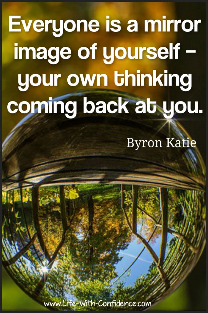 Everyone is a mirror image of yourself - your own thinking coming back at you. Byron Katie
