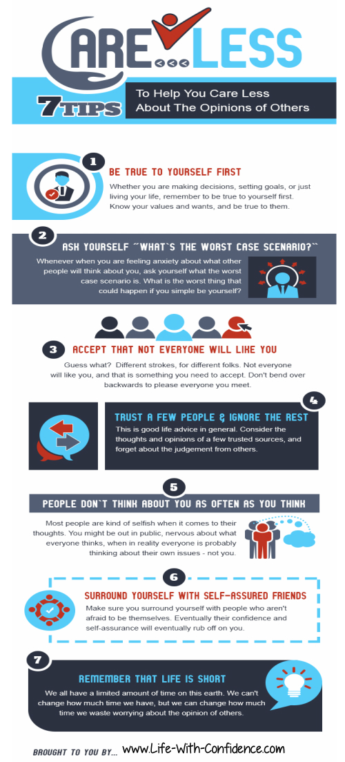 7 tips to care less what others think of you